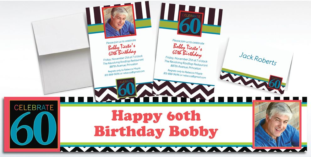 Custom 60th Birthday Invitations and Thank You Notes