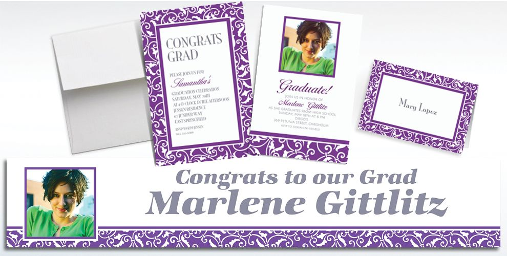 Custom Purple Ornamental Scroll Invitations and Thank You Notes