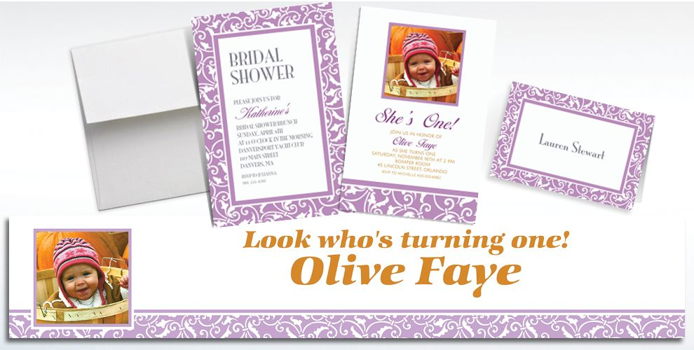 Custom Lavender Ornamental Scroll Invitations and Thank You Notes