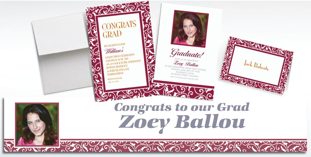 Custom Berry Ornamental Scroll Invitations and Thank You Notes