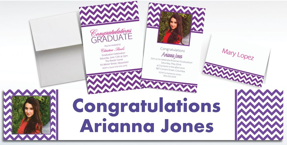Custom Purple Chevron Invitations and Thank You Notes