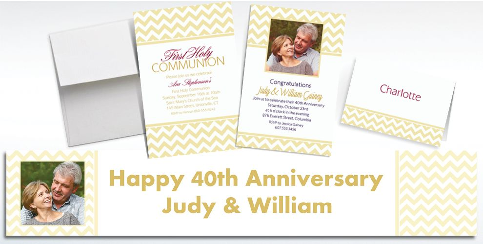Custom Vanilla Chevron Invitations and Thank You Notes