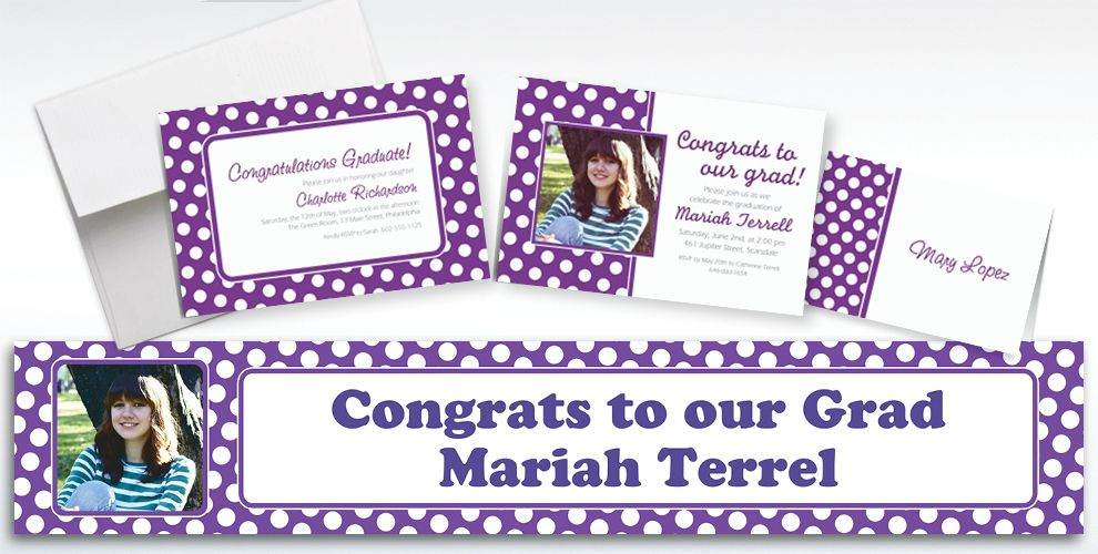 Custom Purple Polka Dot Invitations and Thank You Notes