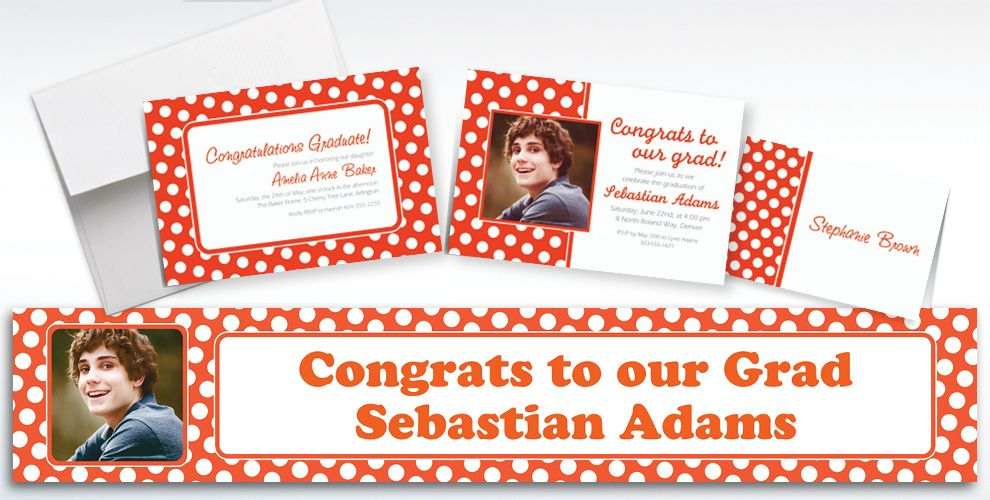 Custom Orange Polka Dot Invitations and Thank You Notes