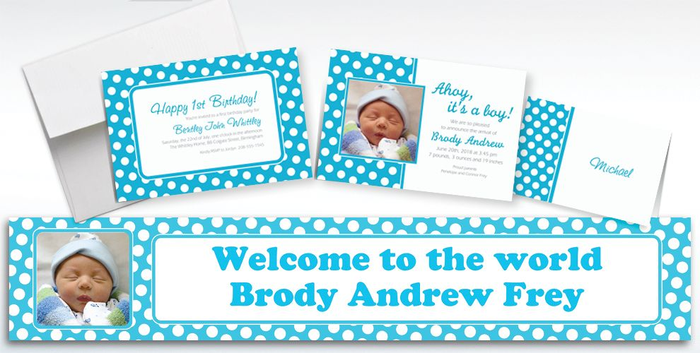 Custom Caribbean Blue Polka Dot Invitations and Thank You Notes