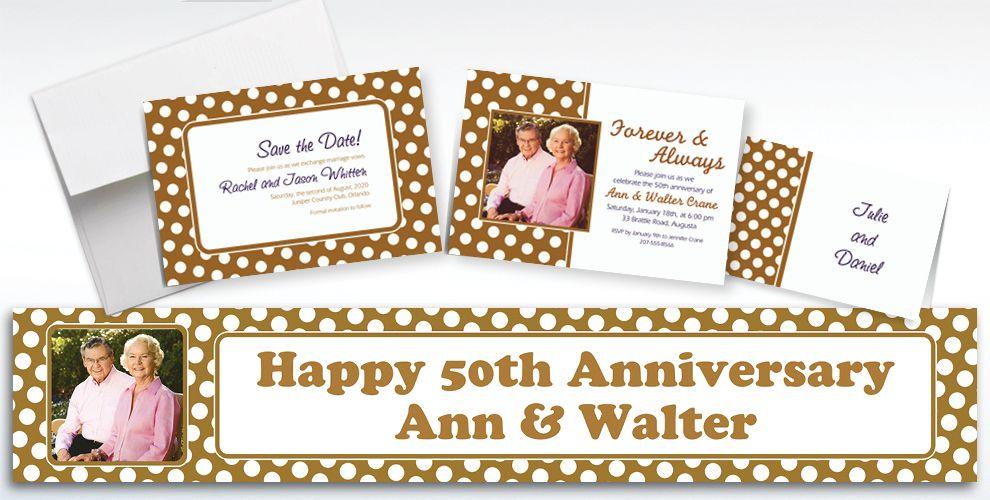 Custom Gold Polka Dot Invitations and Thank You Notes
