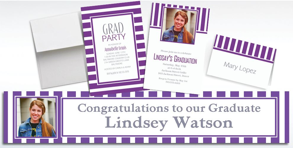 Custom Purple Striped Invitations and Thank You Notes