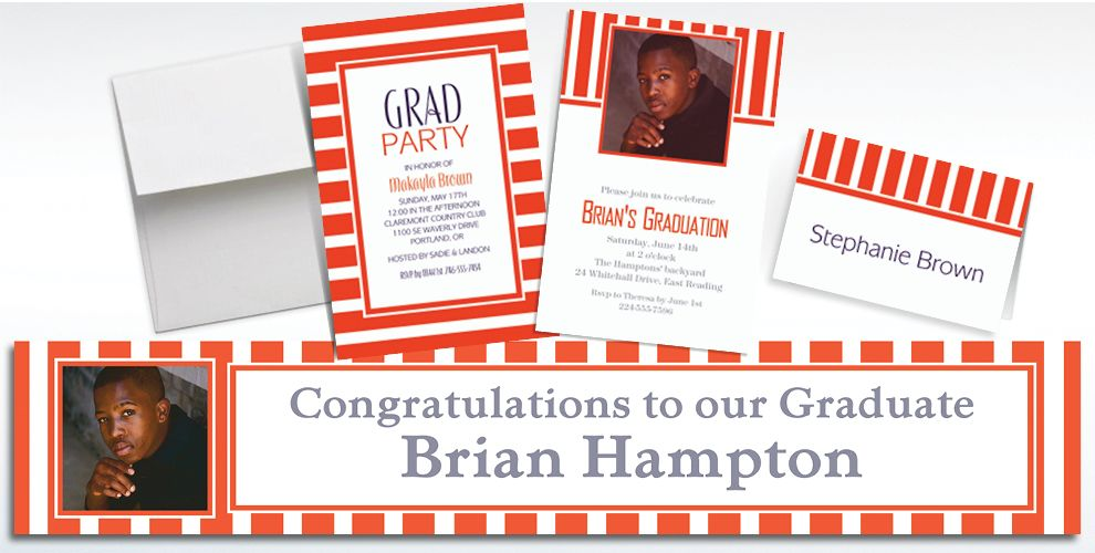 Custom Orange Striped Invitations and Thank You Notes