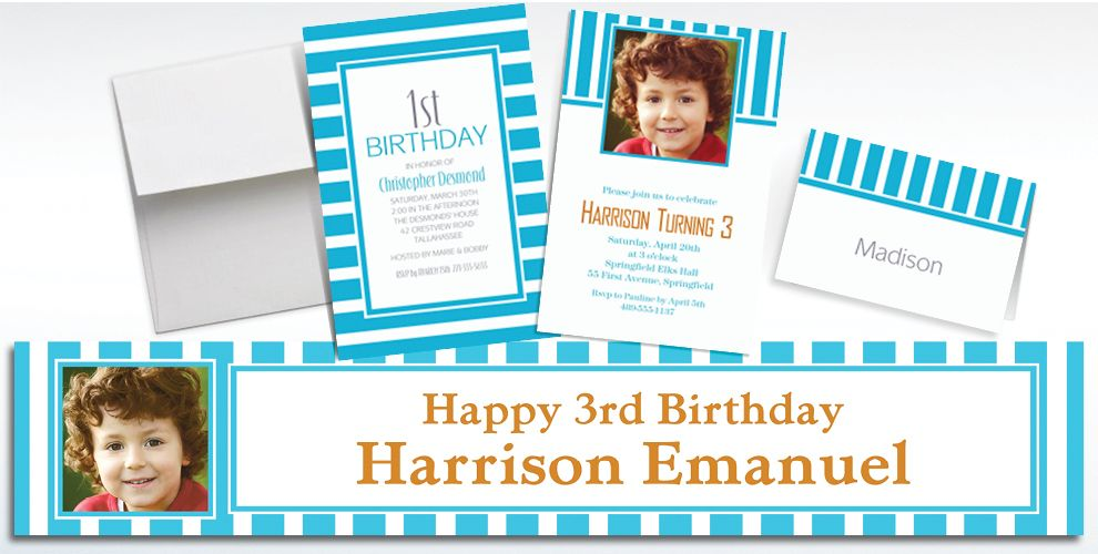 Custom Caribbean Blue Striped Invitations and Thank You Notes