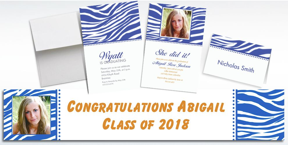 Custom Royal Blue Zebra Invitations and Thank You Notes