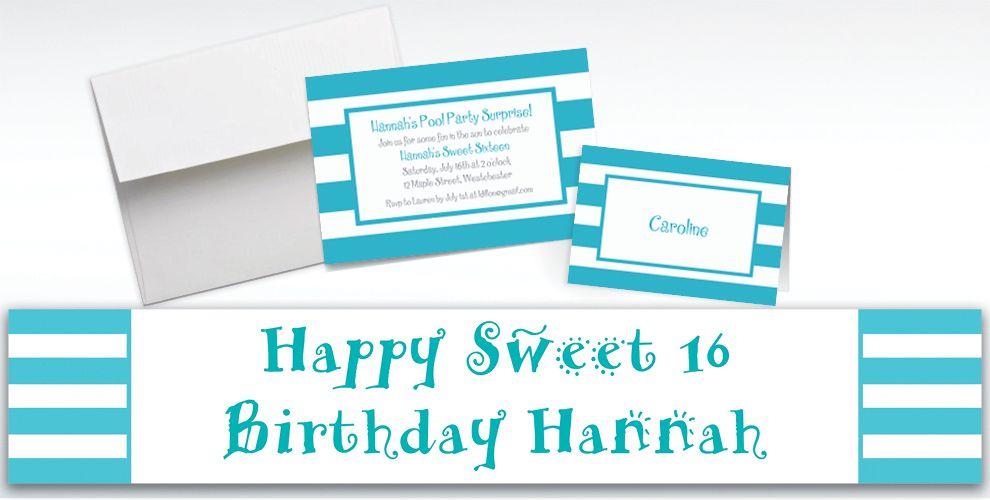 Custom Caribbean Blue Cabana Stripe Invitations and Thank You Notes