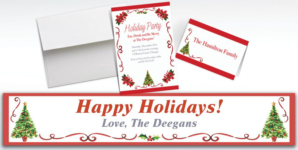 Custom Traditional Christmas Invitations and Thank You Notes
