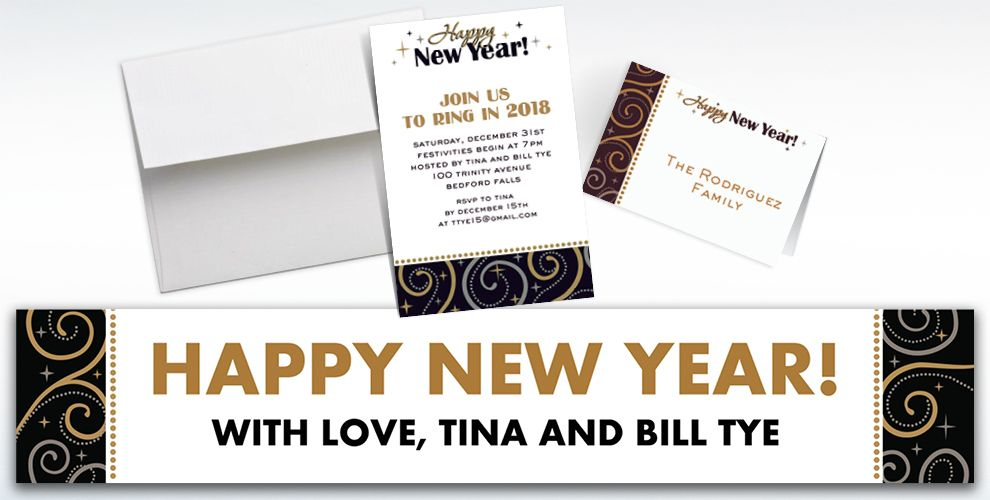 Custom Sparkling New Year's Invitations and Thank You Notes