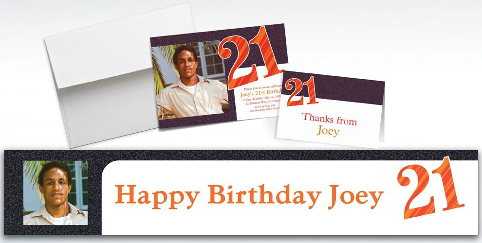 Custom Big Celebration 21 Photo Invitations, Thank You Notes and Banners