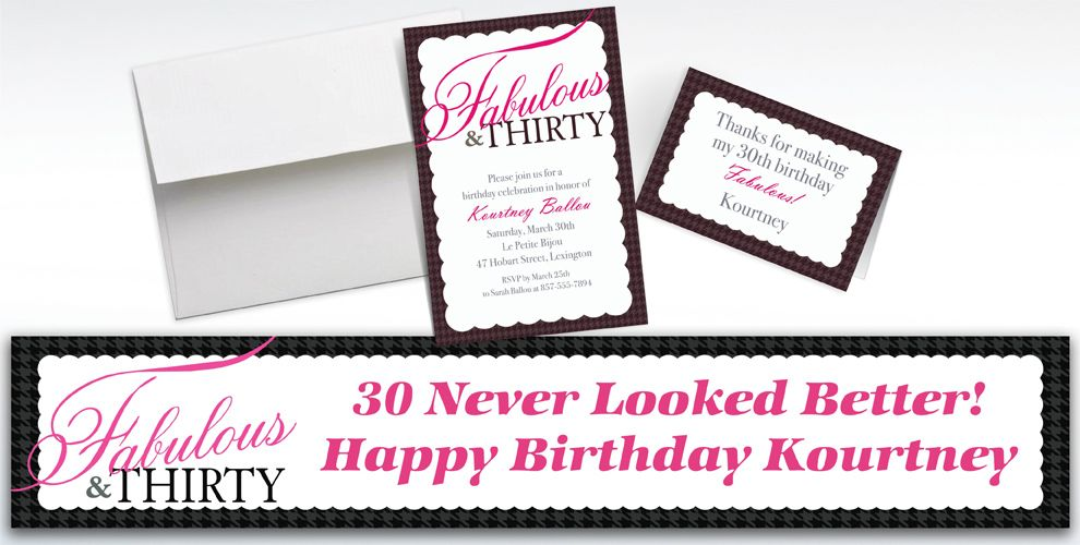 Custom Fabulous and Thirty Invitations