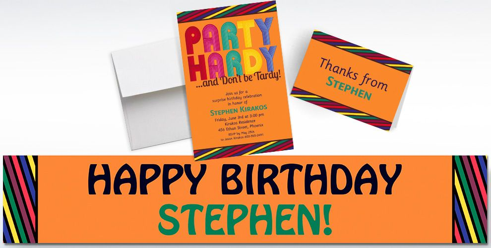 Custom Party Hardy Surprise Invitations and Thank You Notes