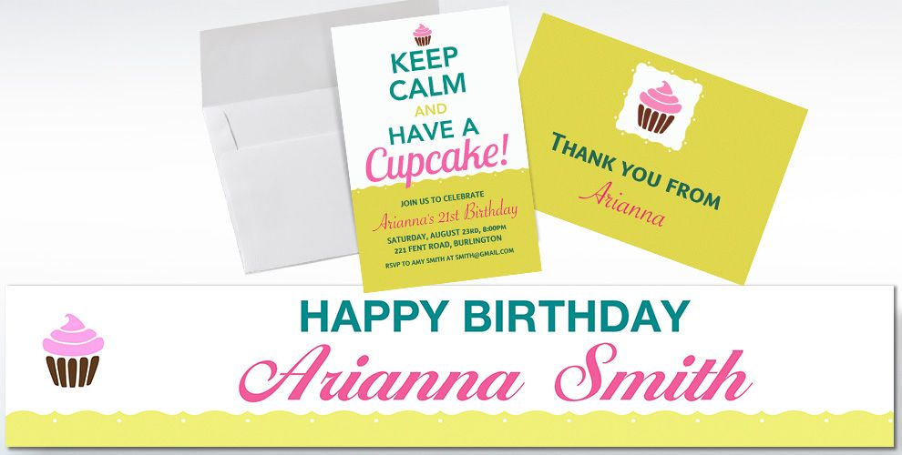 Custom Keep Calm Cupcake Invitations and Thank You Notes