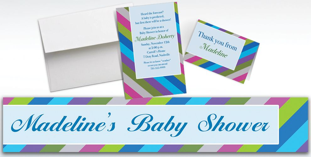 Custom Diagonal Stripe Cool Invitations and Thank You Notes