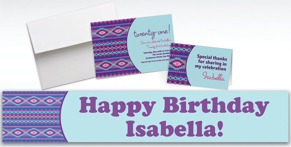 Custom Techno Aztec Cool Invitations and Thank You Notes