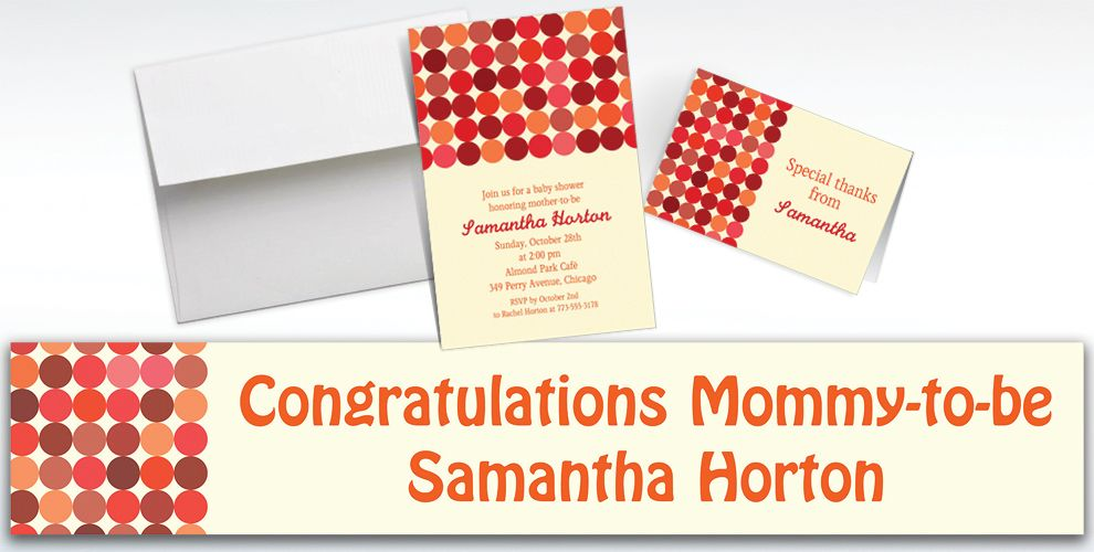 Custom Dotty Warm Invitations and Thank You Notes