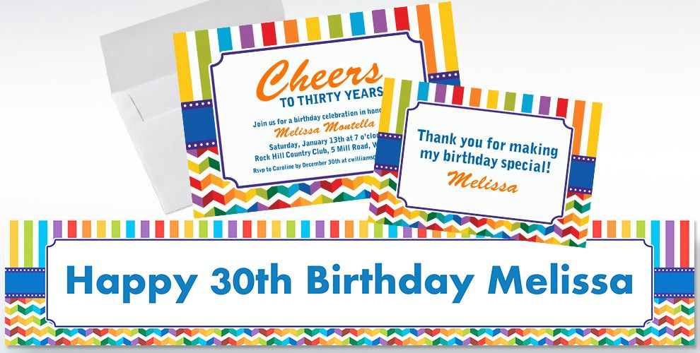 Custom Birthday Bright Invitations and Thank You Notes