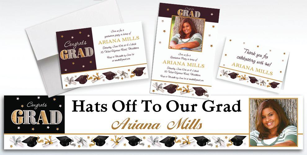 Custom Festive Grad Invitations and Thank You Notes