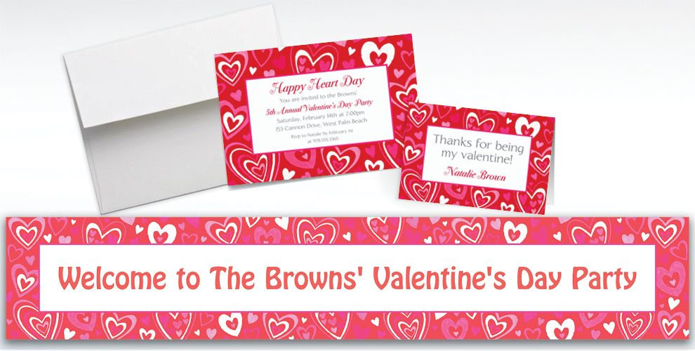 Custom Valentine Party Invitations and Thank You Notes