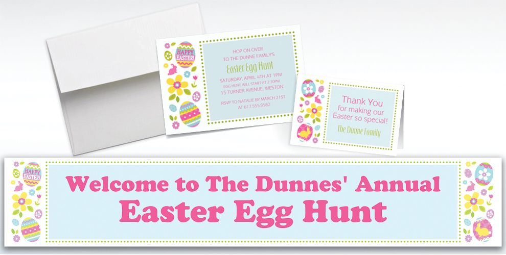Custom Egg Hunt Invitations and Thank You Notes