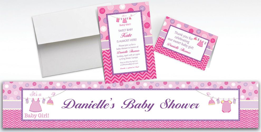 Custom Shower with Love Girl Invitations and Thank You Notes