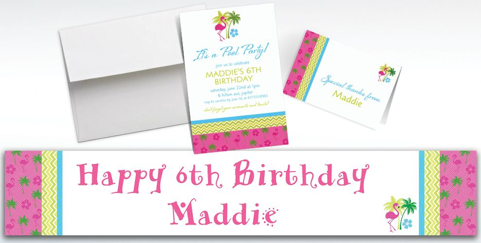 Custom Flamingo Fun Invitations and Thank You Notes
