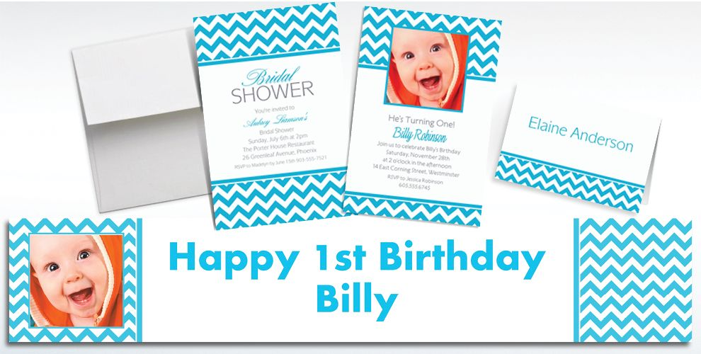 Custom Caribbean Blue Chevron Invitations and Thank You Notes