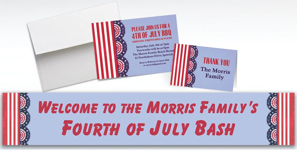 Custom American Pride Invitations and Thank You Notes