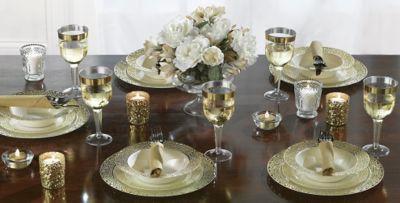 Cream Gold Lace Border Premium Tableware & Cream Gold Lace Border Premium Tableware | Party City