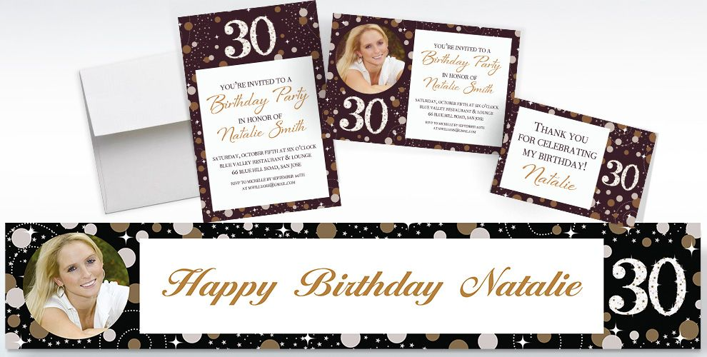 Custom Sparkling Celebration 30 Invitations and Thank You Notes