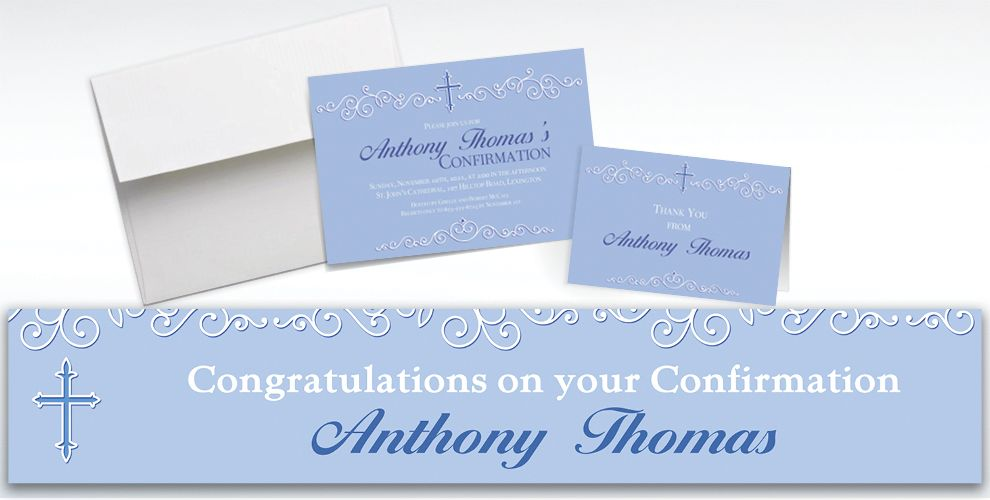 Custom Filigree and Cross Blue Invitations and Thank You Notes