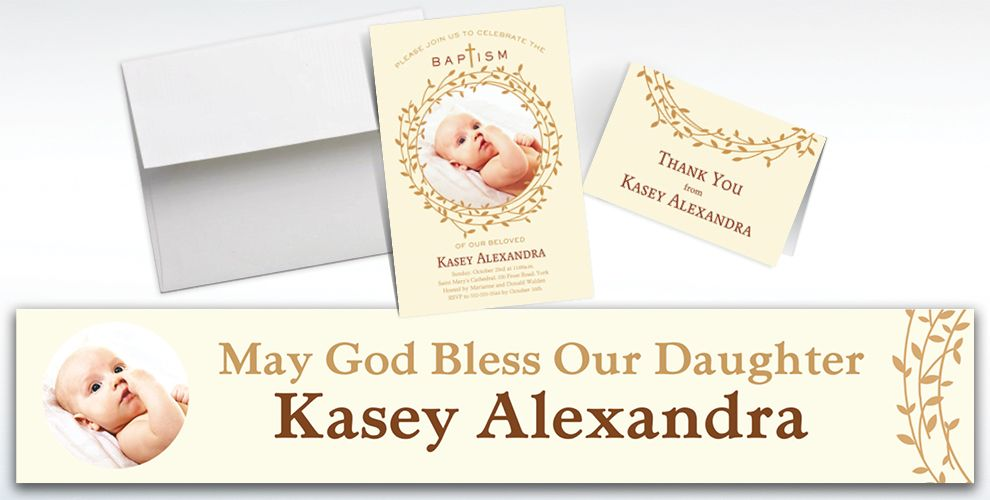 Custom Baptism Wreath Invitations and Thank You Notes