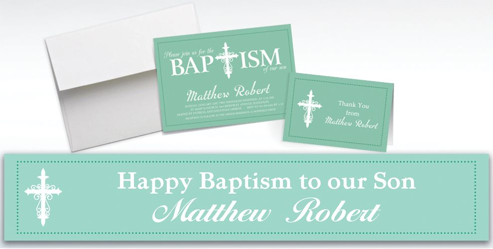 Custom Fancy Baptism Cross Teal Invitations and Thank You Notes