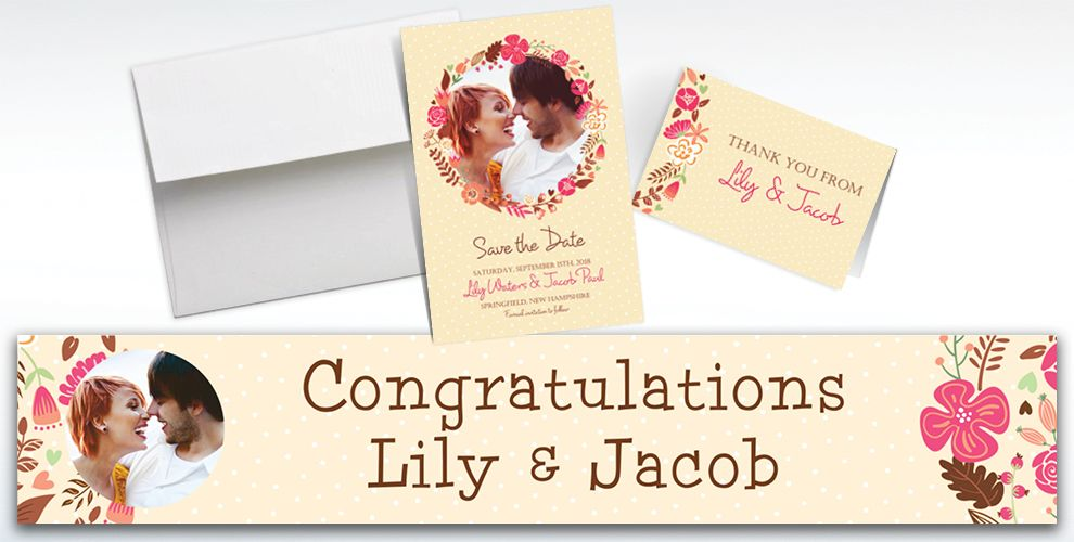 Custom Floral Wreath Invitations and Thank You Notes