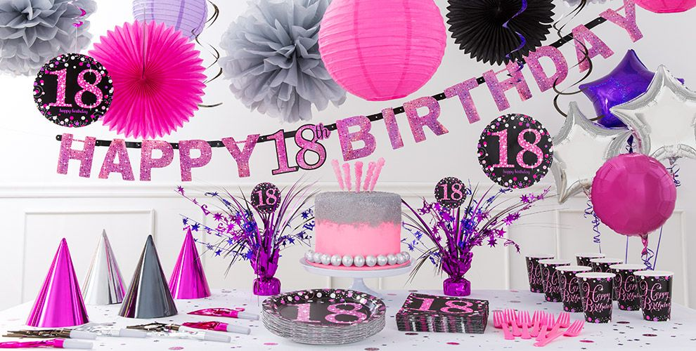 Pink sparkling celebration 18th birthday party supplies for 18th birthday party decoration