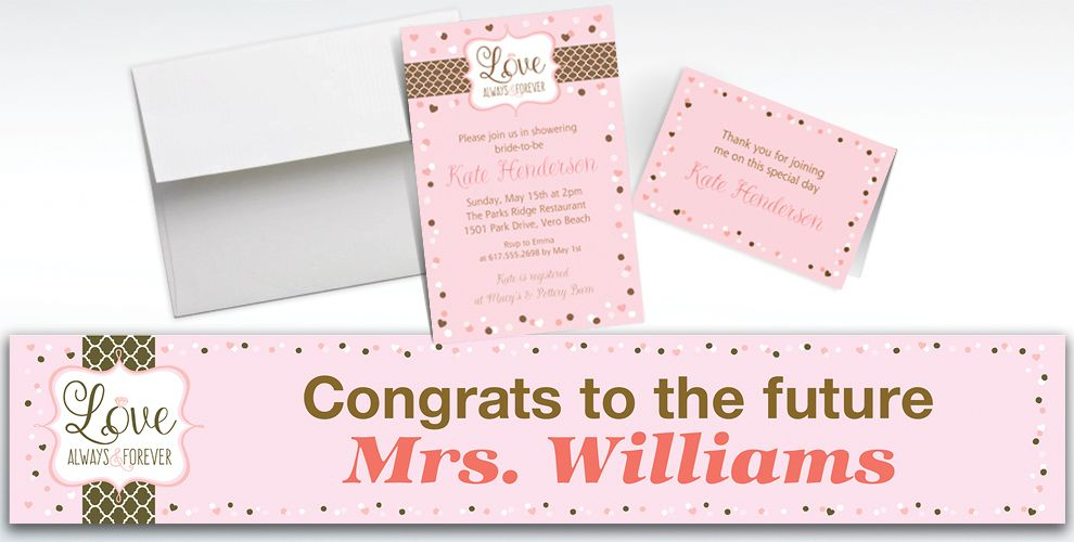 Custom Pink and Brown Wedding Invitations and Thank You Notes