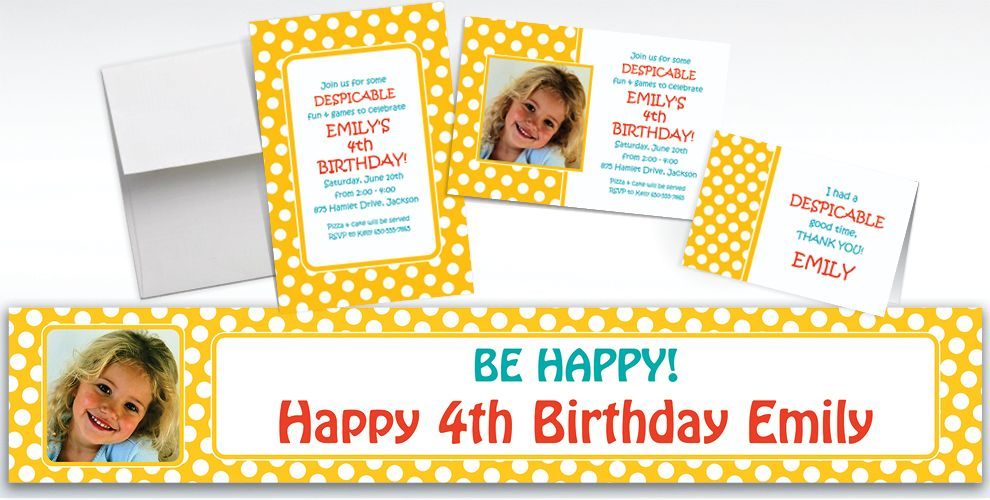 Custom Yellow Birthday Invitations and Thank You Notes