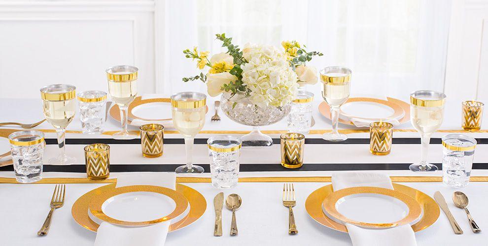 White Prismatic Gold Border Premium Tableware