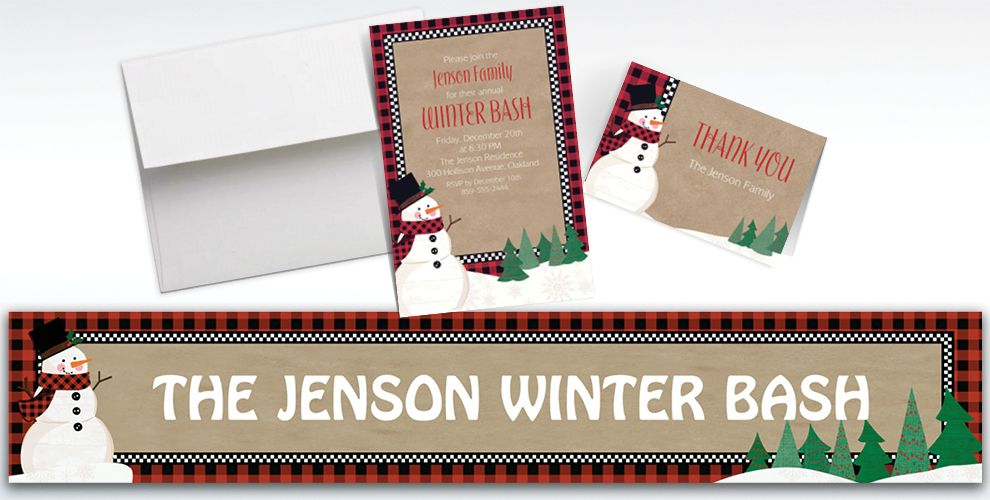 Custom Winter Wonder Snowman Banners, Invitations and Thank You Notes