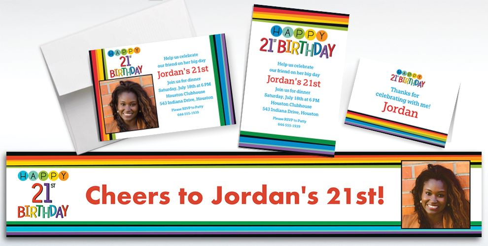 Custom Rainbow 21st Birthday Invitations, Thank You Notes and Banners