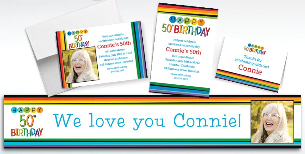 Custom Rainbow 50th Birthday Banners, Invitations and Thank You Notes