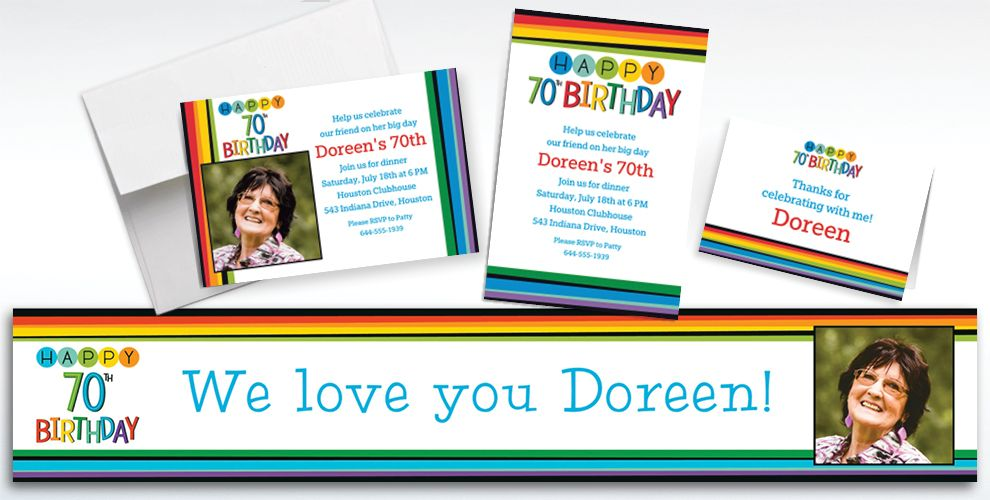Custom Rainbow 70th Birthday Banners, Invitations and Thank You Notes