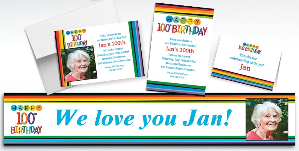 Custom Rainbow 100th Birthday Banners, Invitations and Thank You Notes