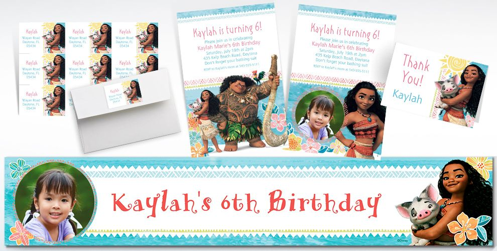 Custom Moana Invitations, Thank You Notes and Banners