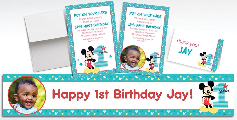 Custom Mickey Mouse 1st Birthday Banners, Invitations & Thank You ...