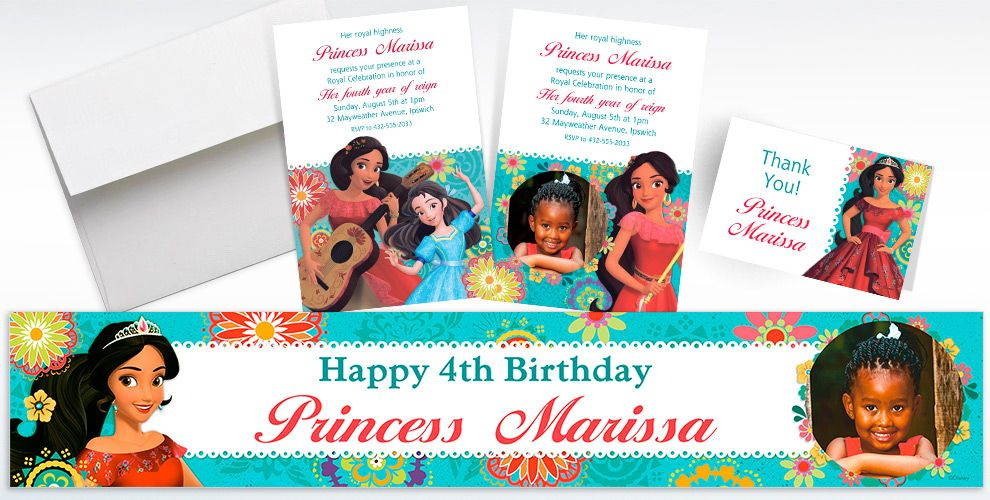 Custom Elena of Avalor Invitations, Thank You Notes and Banners